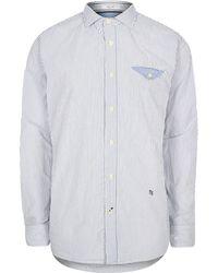 River Island - Pepe Jeans Blue Fine Stripe Shirt - Lyst