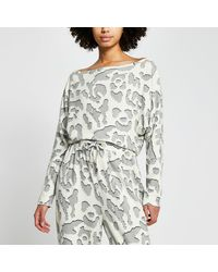 River Island Cream Leopard Print Pajama Top - Gray