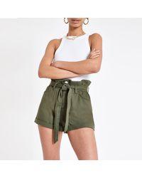 River Island Khaki Paperbag Belted Denim Shorts - Natural