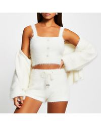 River Island White Fluffy Button Detail Cami Top