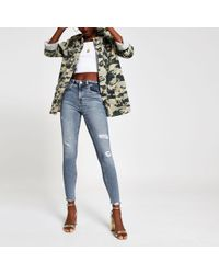 River Island Mid Blue Amelie Super Skinny Ripped Jeans