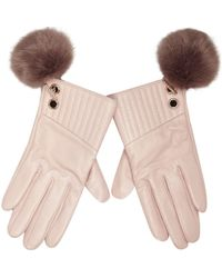 River Island - Light Pink Leather Pom Pom Gloves - Lyst