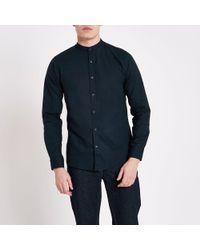 River Island - Only & Sons Navy Grandad Oxford Shirt - Lyst