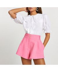River Island Pink Structured Shorts
