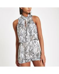 River Island Snake Print High Neck Tiered Playsuit - Grey