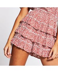 River Island Red Floral Print Ruffle Shorts