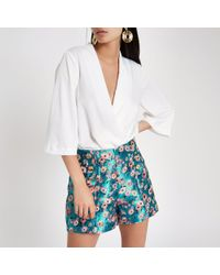 River Island - Blue Floral Jacquard Button Front Shorts - Lyst