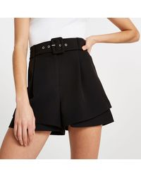 River Island Black Belted Double Layer Shorts