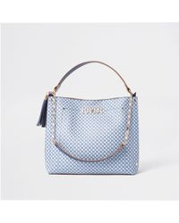River Island Blue 'river' Gold Chain Slouch Bag
