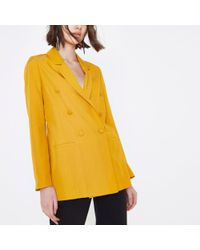River Island - Yellow Double Breasted Longline Blazer Yellow Double Breasted Longline Blazer - Lyst