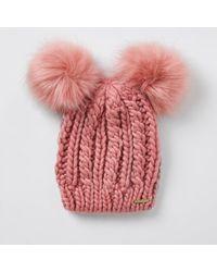 River Island Pink Double Pom Pom Beanie Hat