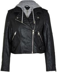 River Island Petite Black Faux Leather Hoodie Biker Jacket