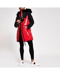River Island Red Padded Faux Fur Quilted Coat
