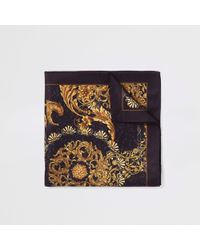 River Island - Black Baroque Print Handkerchief - Lyst