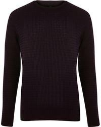 River Island - Dark Purple Cable Knit Muscle Fit Jumper - Lyst