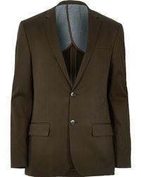 River Island Dark Green Skinny Suit Jacket
