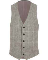 River Island - Light Grey Textured Check Suit Waistcoat Light Grey Textured Check Suit Waistcoat - Lyst