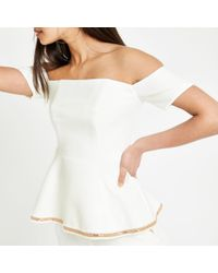 e6792421f06a7 River Island White Shirred Bardot Frill Sleeve Top in White - Lyst