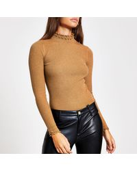 River Island High Frill Neck Fitted Rib Knit Top - Brown
