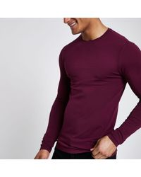 f3250b3ca26f Lyst - River Island White And Red Muscle Fit Raglan T-shirt in White ...