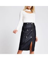 River Island Faux Leather Quilted Zip Midi Skirt - Black