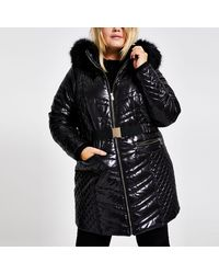 River Island Plus Black High Shine Puffer Coat