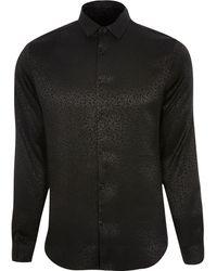 River Island Black Leopard Design Slim Fit Shirt
