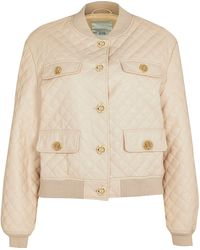 River Island - Beige Faux Leather Diamond Quilted Bomber - Lyst
