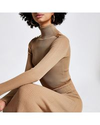 River Island Brown Chain Detail Ribbed Long Sleeve Dress