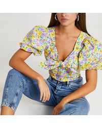 River Island Purple Floral Tie Front Puff Sleeve Crop Top