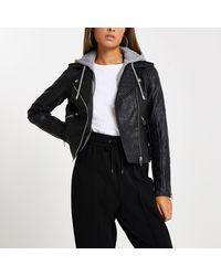 River Island Black Faux Leather Biker Jacket Hoodie