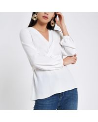 River Island - Cross Front Tie Back Blouse - Lyst