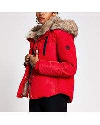 River Island Red Faux Fur Hooded Padded Jacket