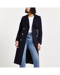 River Island Navy Quilted Trench Coat - Blue
