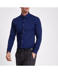 River Island - Navy Muscle Fit Long Sleeve Shirt - Lyst