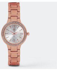 River Island Rose Gold Slim Crystal Watch - Orange