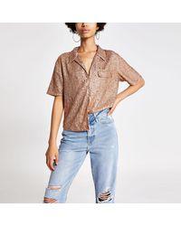 River Island Sequin Sequin Embellished Shirt - Metallic