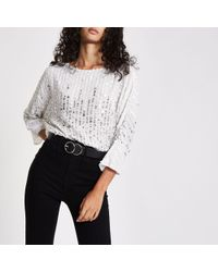 River Island Sequin Batwing Top - White