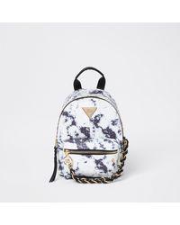 River Island White Tie Dye Chain Backpack