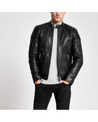 River Island River Island Black Leather Racer Neck Jacket