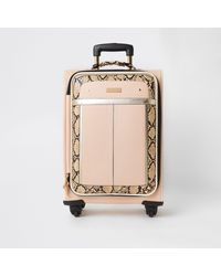 River Island Snake Printed Four Wheel Suitcase - Natural