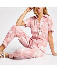 River Island Pink Print Short Sleeve Boiler Jumpsuit