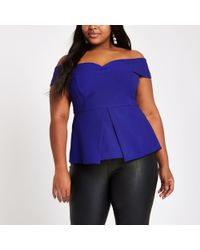 River Island - Plus Blue Structured Bardot Top - Lyst