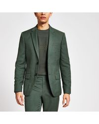 River Island Textured Skinny Fit Suit Jacket - Green