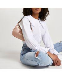 River Island White Long Sleeve Collar Shirt