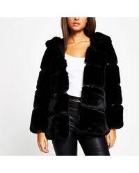 River Island Black Panelled Hooded Faux Fur Coat