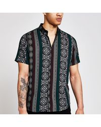 River Island - Printed Short Sleeve Slim Fit Shirt - Lyst