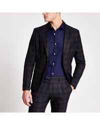 River Island - Navy Check Skinny Fit Suit Jacket Navy Check Skinny Fit Suit Trousers - Lyst