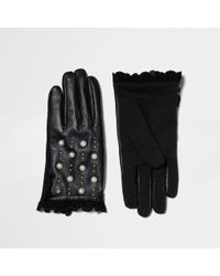 River Island - Black Studded Frill Touch Screen Gloves Black Studded Frill Touch Screen Gloves - Lyst