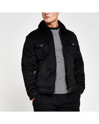 River Island Black Borg Lined Faux Suede Western Jacket